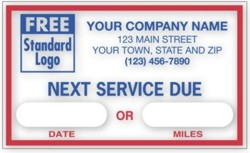 1690A Next Service Due Labels personalized with your business information