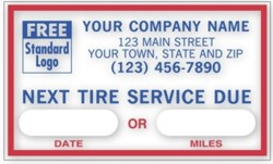 1690E Next Tire Service Due personalized with your business information