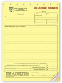 271 Change Order form personalized with your business information