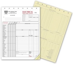6520 Electrical Work Order Invoice w/checklist personalized with your business information