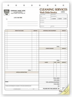 6527 Cleaning Contract Work Order Invoice personalized with buiness information!