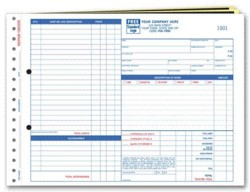 655; Garage Repair Order form with side-stub, large format personalized with your business information