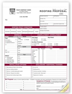 6566 Roofing Proposal form personalized with your business information