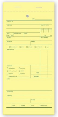 671 Florist Sales Order form personalized with your business informaton