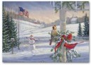 H56411 Countryside Cardinals Patriotic Holiday Card personalized with your business or personal information